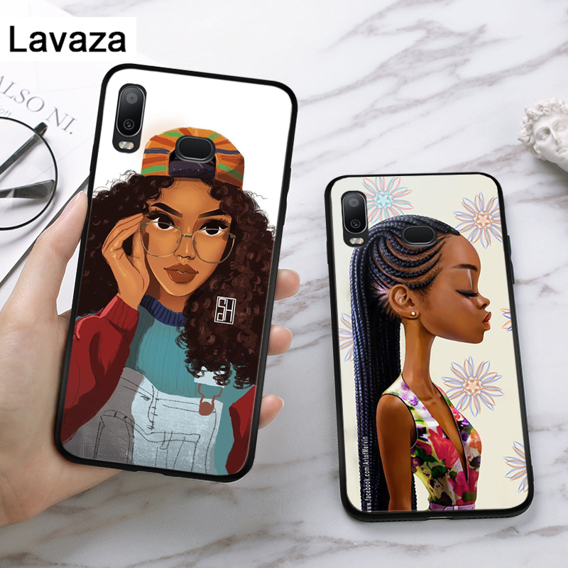 Lavaza Afro Girls Silicone Case for Samsung A3 A5 A6 Plus A7 A8 A9 A10 A30 A40 A50 A70 J6 A10S A30S A50S in Fitted Cases from Cellphones Telecommunications