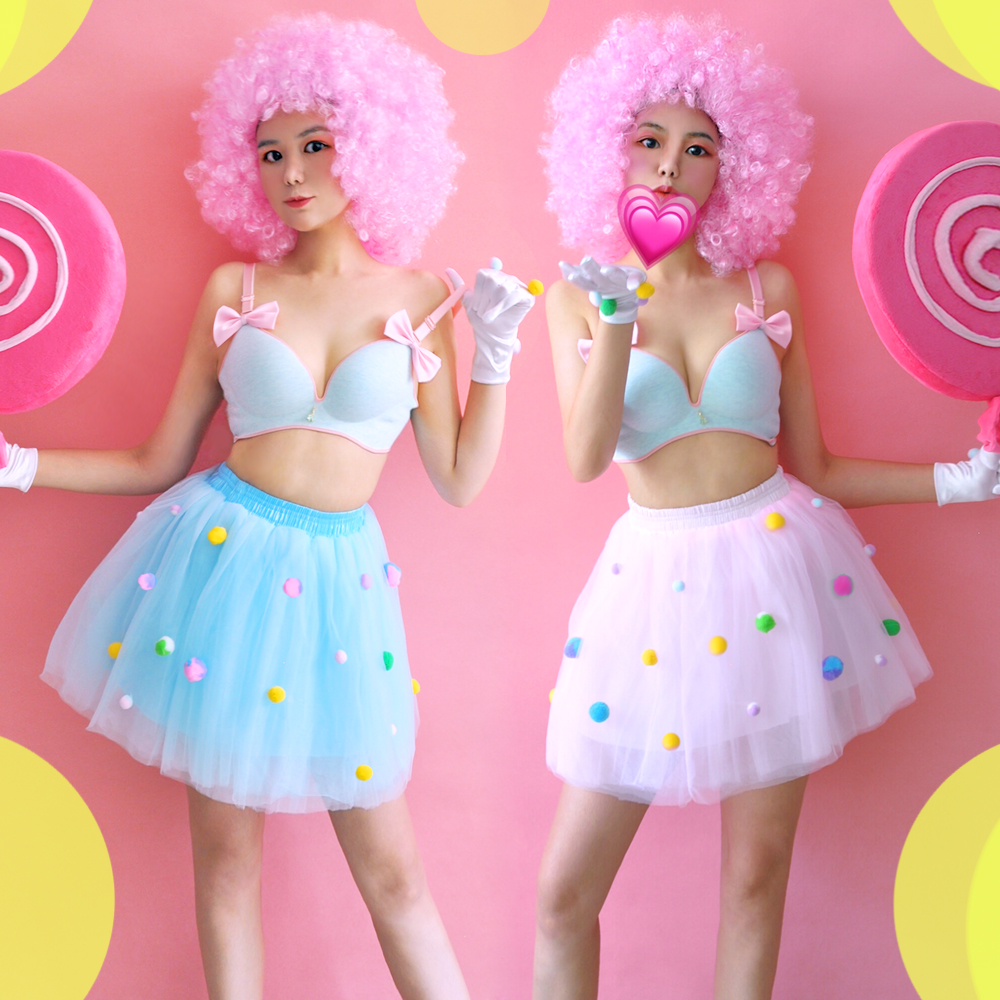 Jazz Dance Costumes Candy Colors Bra Tutu Skirts Nightclub Dj Ds Costume Stage Clothes For Singers Women Performance Wear DN3815