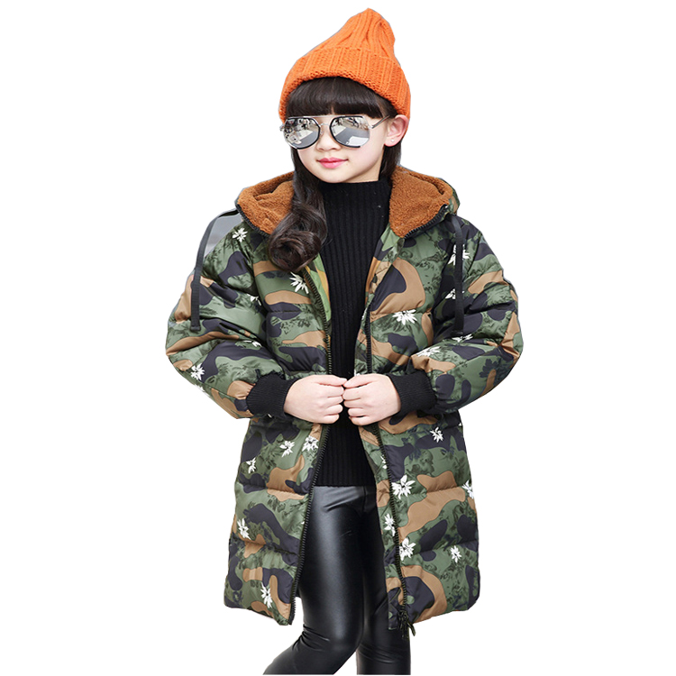 4~10T Teenage Big Girls Winter Down Jackets for the Girl Outerwear Army Color Long Style Loose Sleeve Coat Meisjes Winterjas a15 girls jackets winter 2017 long warm duck down jacket for girl children outerwear jacket coats big girl clothes 10 12 14 year