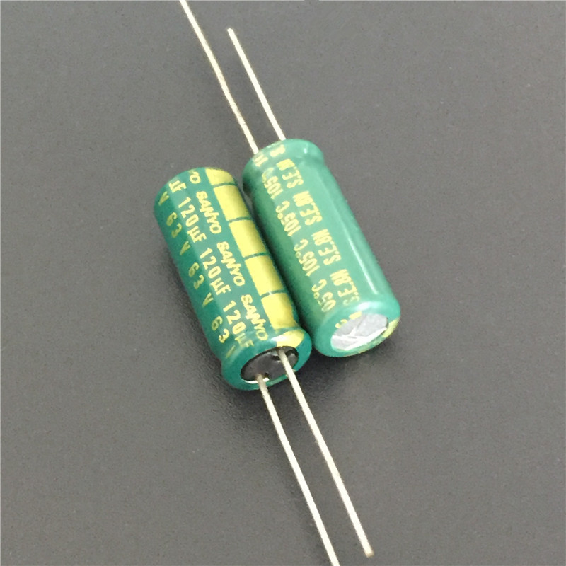 10pcs 120uF 63V Sanyo AX Series 8x20mm 63V120uF Low Impedance Long Life Electrolytic Capacitor