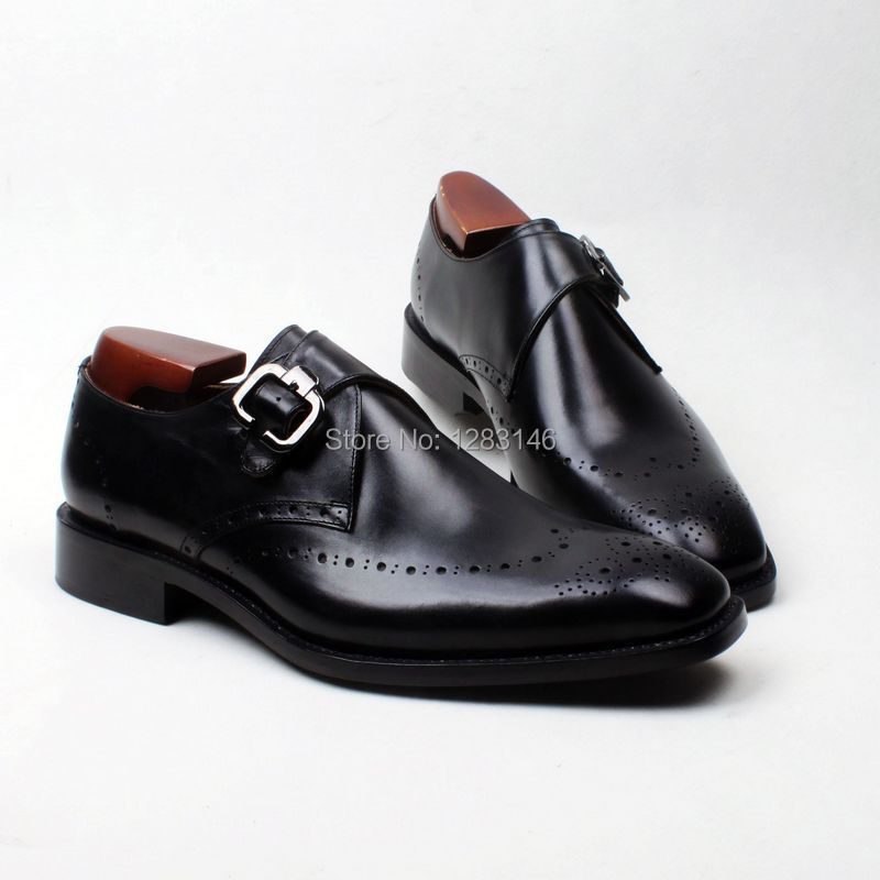 obbilly Handmade Leather Upper/outsole/Insole Black Single Monk Strap Goodyear Square toe Shoe No.MS115