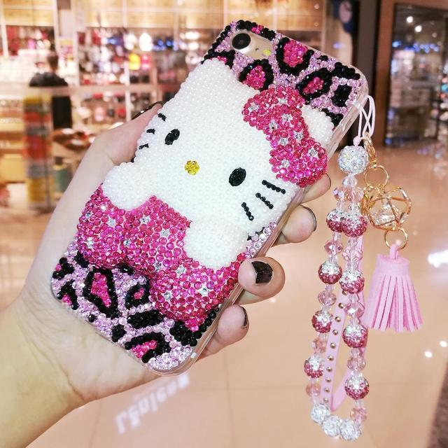 ed0a5f490 For iphone XS Bling Bling 3D Crystal Hello Kitty Cabochon DIY phone Case  For iphone XR Xs max X 6 7 8 plus Luxury Cover