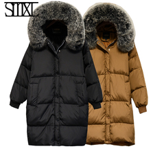 smxl Cloak ultra keep warm Jackets Parkas new white Down Jacket loose thick Winter Women Hooded Coats large Fur collar