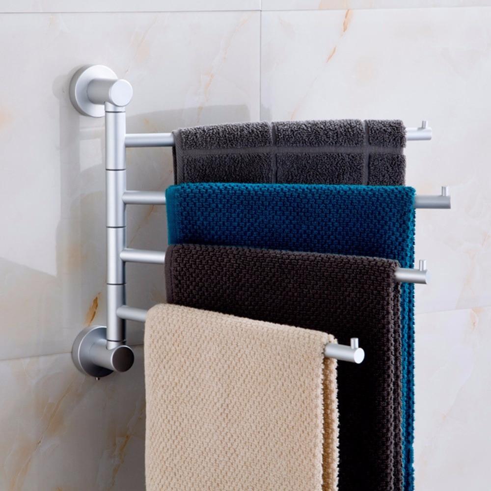 Towel Bar Set Rack Tower Holder Hanger 4 Arm Aluminium Bathroom Wall Mounted Towel Swivel Rack