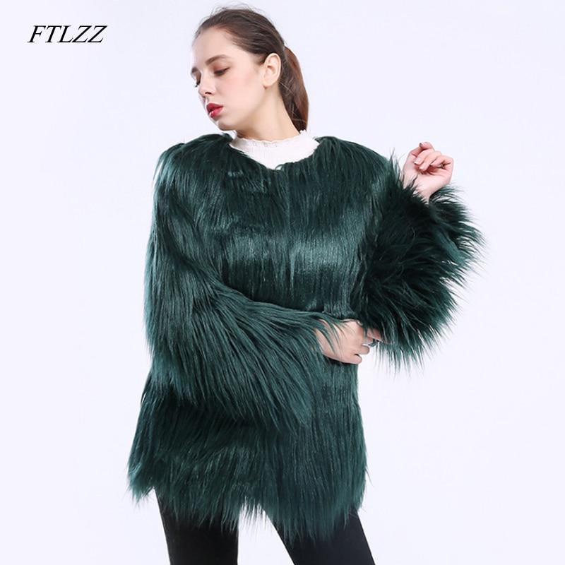 FTLZZ Warm Faux Fur Coat Winter Women Fake Fur Female Black Green Pink Jacket Fluffy Coats Elegant Lady Plus Size 3xl Outerwear