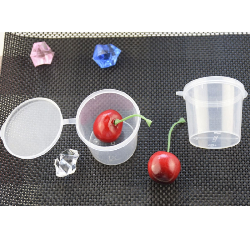 100Pcs Plastic Clear Disposable Sauce Pot Ketchup Chutney Jello Shot Cup Slime Clay Foam Storage Box <font><b>Container</b></font> With Lid <font><b>25ml</b></font> 1oz image