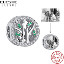 Custom Photo Crystal Beads 925 Sterling Silver Family Tree of Life Charm Fit Original  Charm Bracelet DIY Jewelry Gift