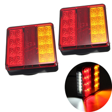 цена на 1 Pair Car LED Rear Tail Lights with License Plate Light Waterproof Rear Lamps for 12V Trailer Truck Boat Caravan