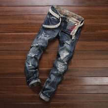 ripped Jeans men brand clothing high quality male jeans fashion casual mens denim pants Light Blue Color Jeans