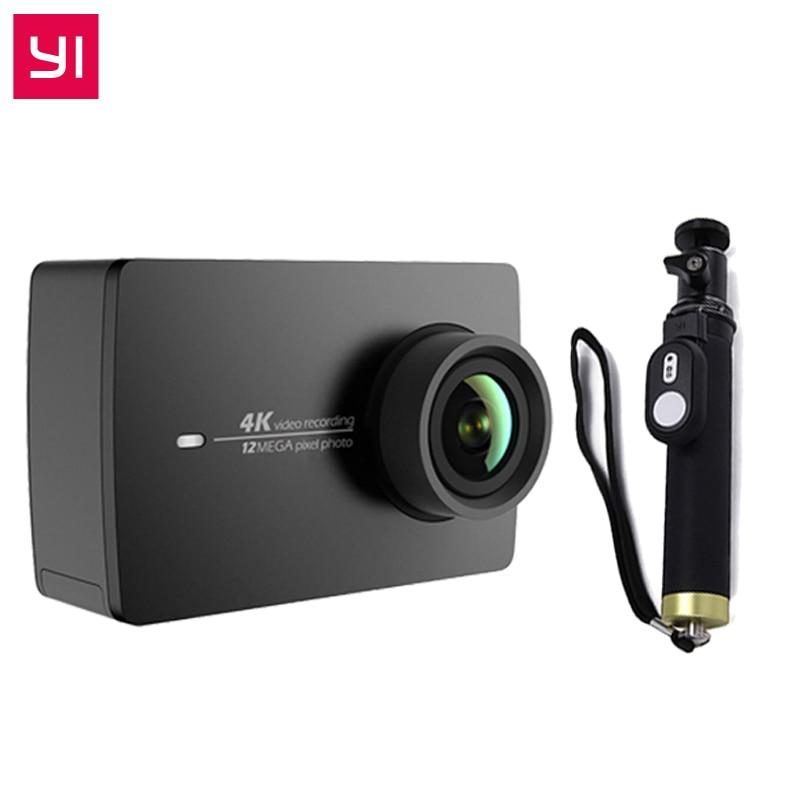 YI 4 K D'action Caméra + Un Selfistick Ambarella A9SE BRAS 12MP CMOS 2.19 155 Degrés EIS PMA WIFI sport Mini Caméra