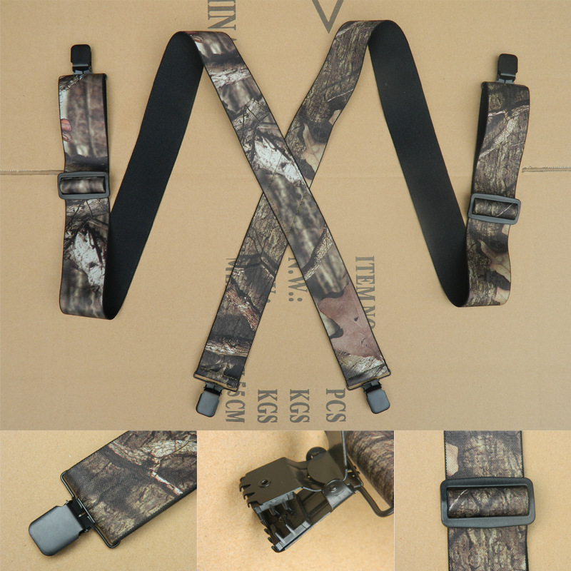 OLOME 120cmx5cm Vintage Men's Camouflage Suspenders Male Braces Shoulder Strap Suspensorio For Men Outdoor  Suspensorio Pants