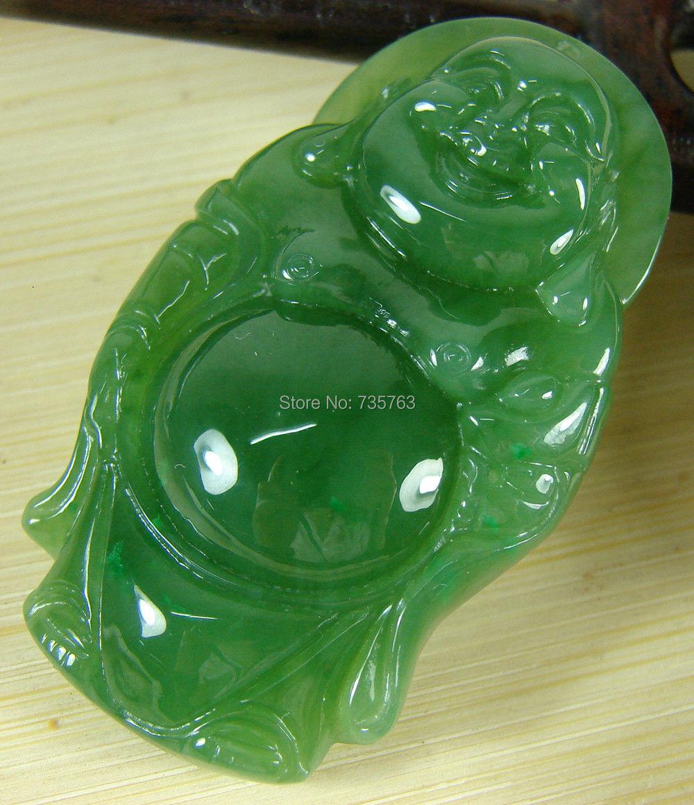 Xiuli 0014863 Certifié Vert Naturel Chinois Hetian Néphrite Jade Pendentif Bouddha Dieu