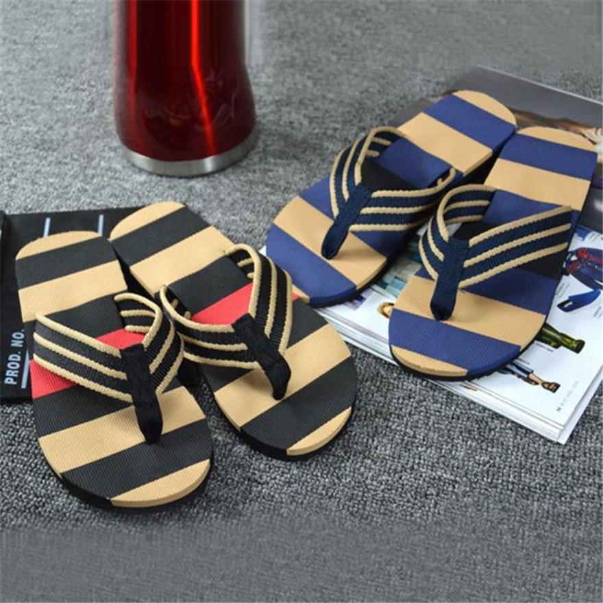 Men Summer Stripe Flip Flops Shoes Sandals Men Shoes Male Slipper Flip-flops sapato masculino calzado hombre terlik стоимость