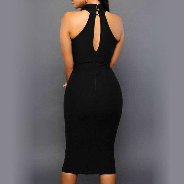 Summer Dress Sexy Women' Bodycon Off Shoulder Crew Neck Party Evening Black Knee-Length Dress New Elegant Vestido 1