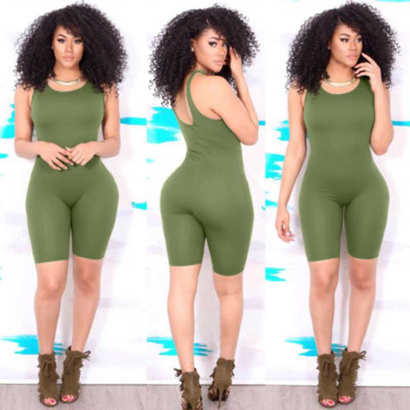 Las mujeres sin mangas Casual Bodycon mono mameluco Club mono pantalones cortos de verano Chaleco de Color sólido 1 piezas Casual Sexy nuevo