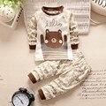 Осень зима Новорожденный Одежда baby boy комплект одежды детская Одежда Хлопка с длинным рукавом девочка одежда Майки пижамы