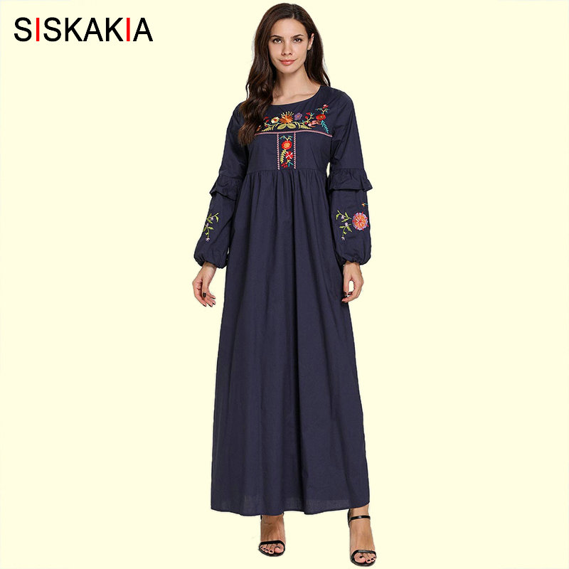 Siskakia Young Ladies A Line Long Dress Navy Blue Floral Embroidery High Waist Swing Draped Patchwork