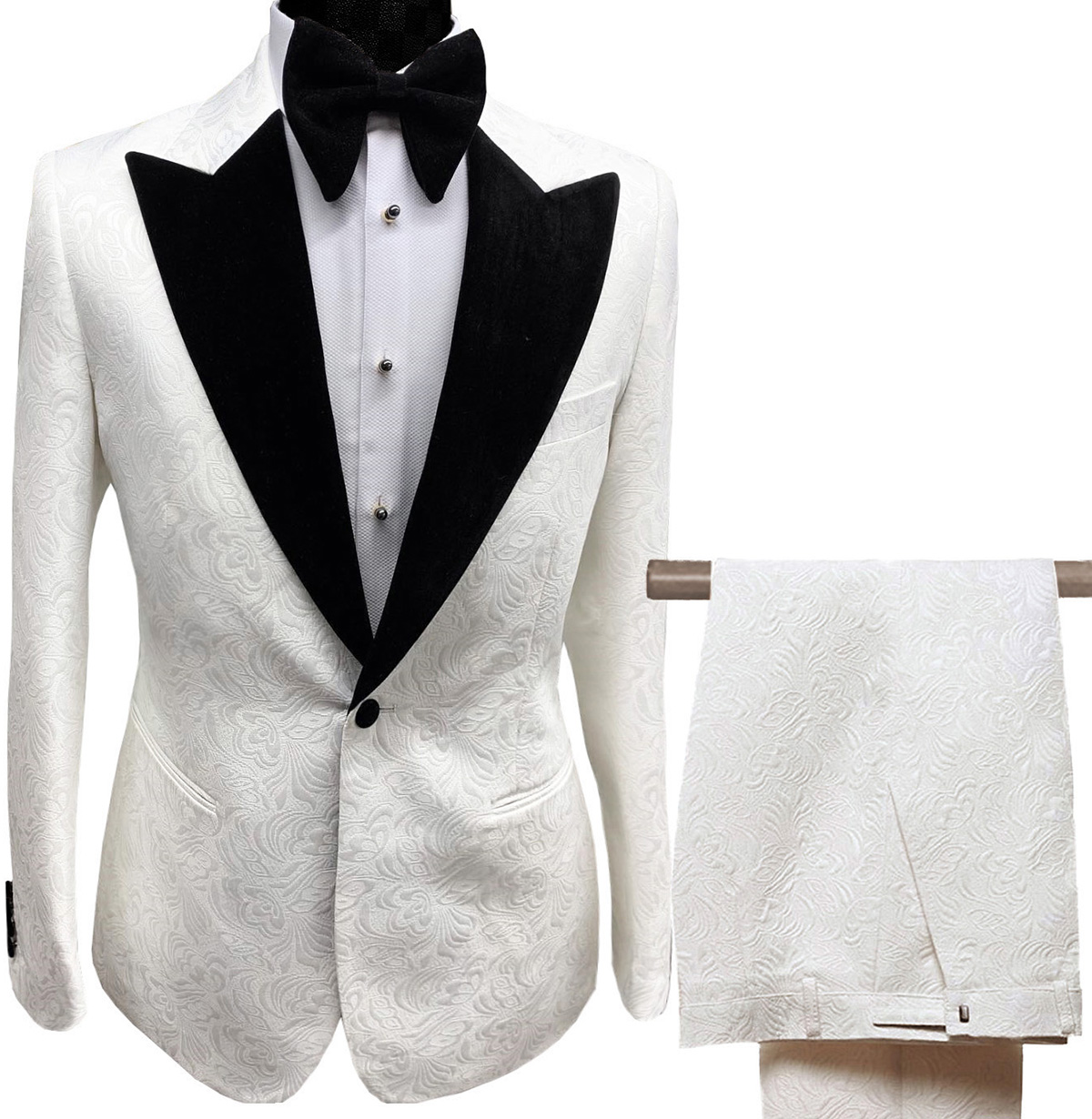 Mens Suits Collar 2 Pieces Slim Fit White Lilac Printed Suit Groom Jacket Tuxedos For Wedding Dress Evening(Blazer+Pants)