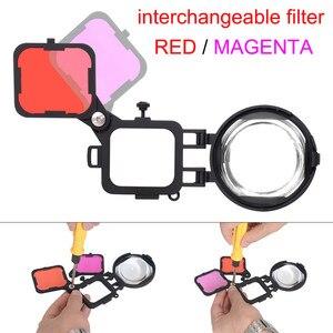 Image 4 - Filtro de corrección de Color Magenta rojo con lente Macro 16X para Gopro Hero 7 6 5 funda carcasa negra submarina juego de filtros para lentes