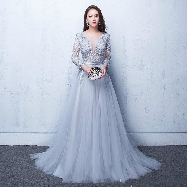 9a442cc9810 Long Sleeves Floor Length Ball Gowns With Lace And Appliques Open Back  A-line Wedding Dresses Light Blue Custom Made