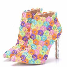 Sexy Thin High Heels Party Wedding Shoes Woman Colorful Flowers Ankle Boots Big Size Pointed Toe Pumps Stiletto XY-A0160 llxf summer transparent ankle boots 10cm thin high heeled crossdresser punk shoes woman stiletto female red wedding pumps