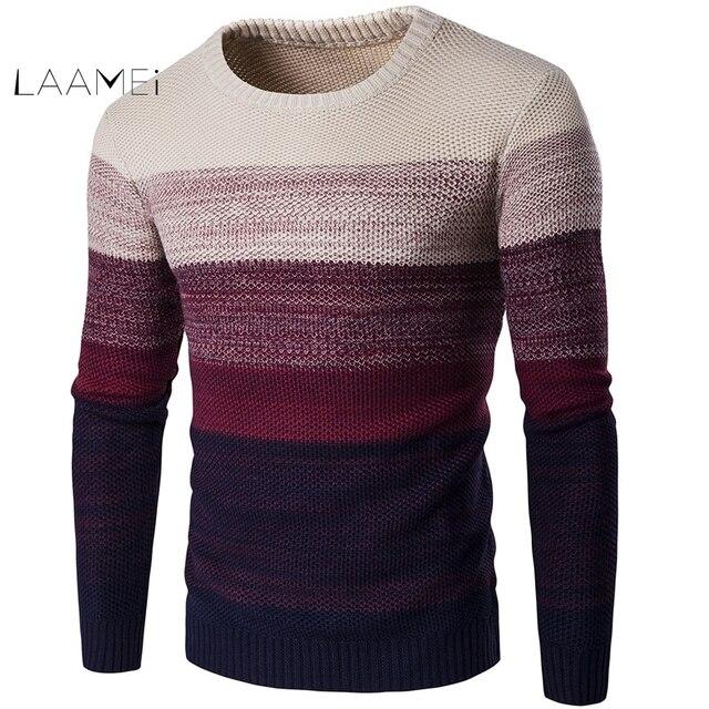 Laamei אופנה גברים סוודרים סתיו חורף מותג מקרית O-צוואר פסים דק סוודר ארוך שרוול טלאי Pollovers
