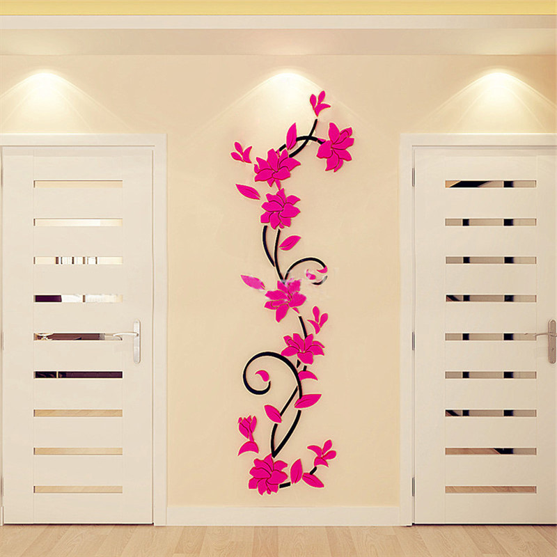 5 Color 3D Removable Acrylic Wall Sticker Family Rose Flower Mural Decoration Decal Home Office Decor 80cm x 24cm Wall Stickers