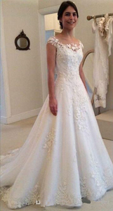 Image 2 - E JUE SHUNG White Vintage Lace Appliques Wedding Dresses 2020 Sheer Back Cap Sleeves Cheap Bridal Dresses vestidos de novia