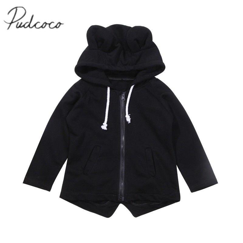 Симпатичные для маленьких мальчиков с медвежьими ушками теплая куртка Дети молнии Новое поступление зимние пальто
