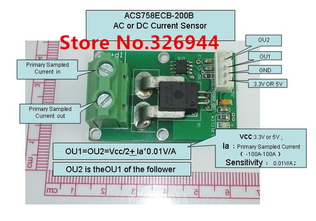 ACS758ECB-200B Sensibilidad $ number mv/A (módulo de Sensor de corriente ALTERNA y Corriente CONTINUA)-200A-200A
