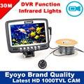 Frete Grátis! 30 M Câmera Subaquática da Pesca do Gelo 1000TVL Fish Finder w/Gravação de Vídeo DVR 4.3 ''a Cores LCD Monitor de 8 pcs IR LED