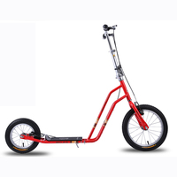 16 Inch Rubber Wheels Carbon Steel Frame Kick Scooter For Adults Kids