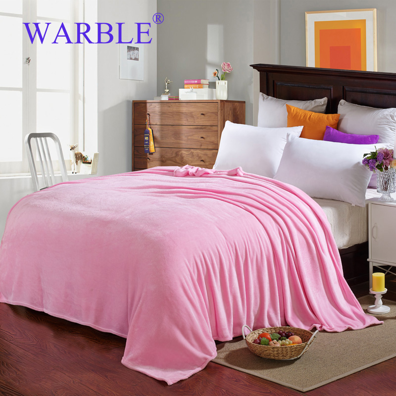 WARBLE Blankets And Throws Of Light Pink Soft Comfortable Flannel Blanket  For Girls Women Bed Sofa
