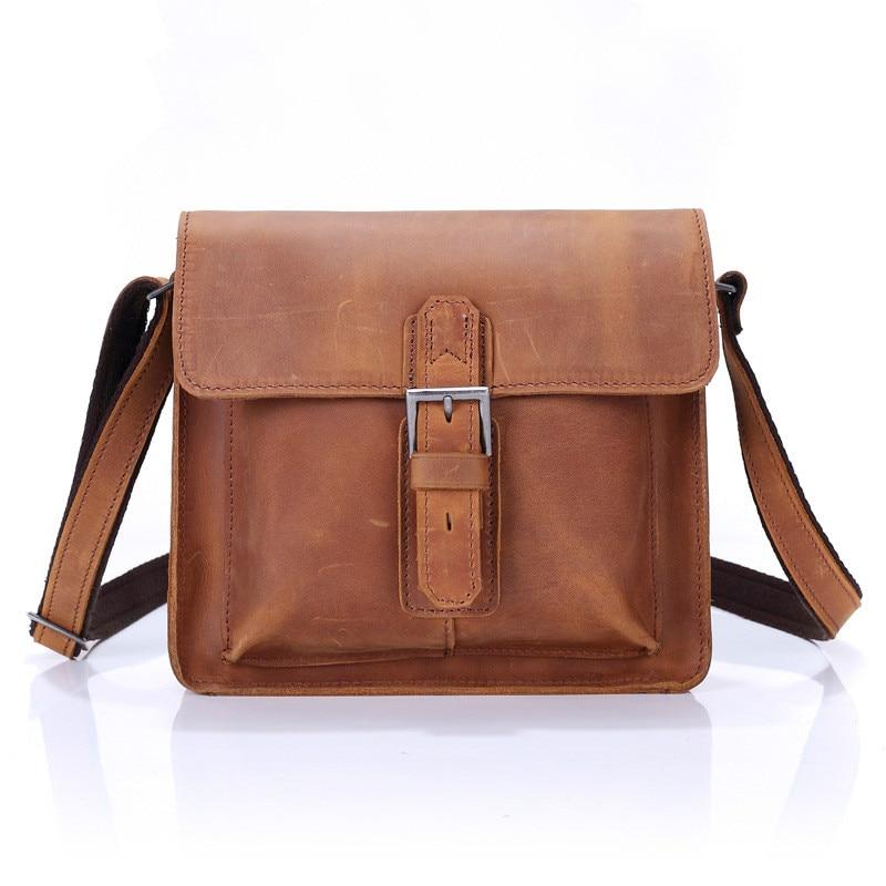 ФОТО 100% Top Quality Brand Genuine Leather Men Messenger Bags Male Vintage Cowhide Shoulder Men Handbags Cowhide Phone Men Bag A1838
