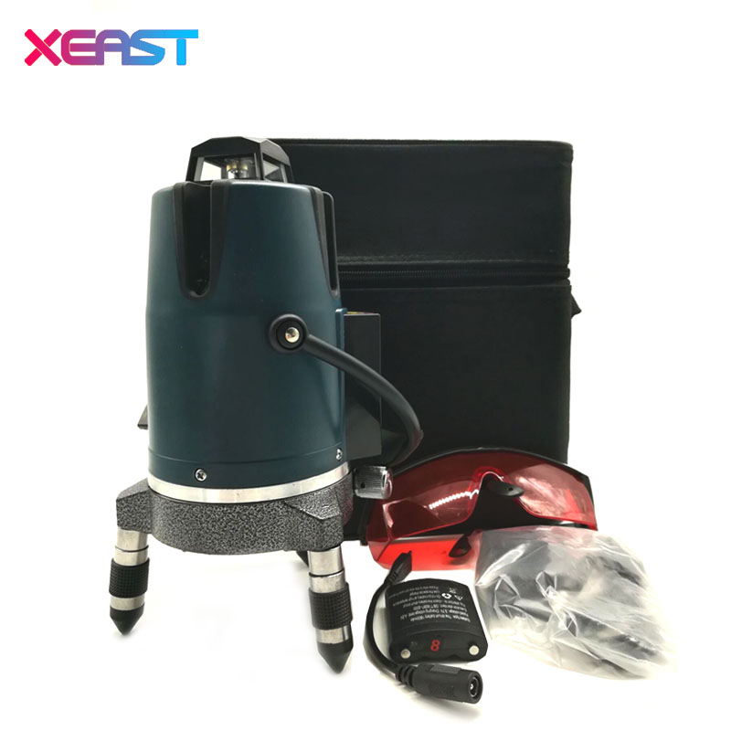 XEAST XE-17A NEW 8 lines 3D Red Laser Level Meter 360 degree rotary cross Self Leveling lithium battery include xeast xe 50r new arrival 5 lines 6 points laser level 360 rotary cross lazer line leveling with tilt function