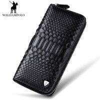 2017 NEW Luxury Brand 100% Snakeskin Alligator Pattern Fashion Business Men Wallets Long Black Men Purse Male Men Wallet Bag
