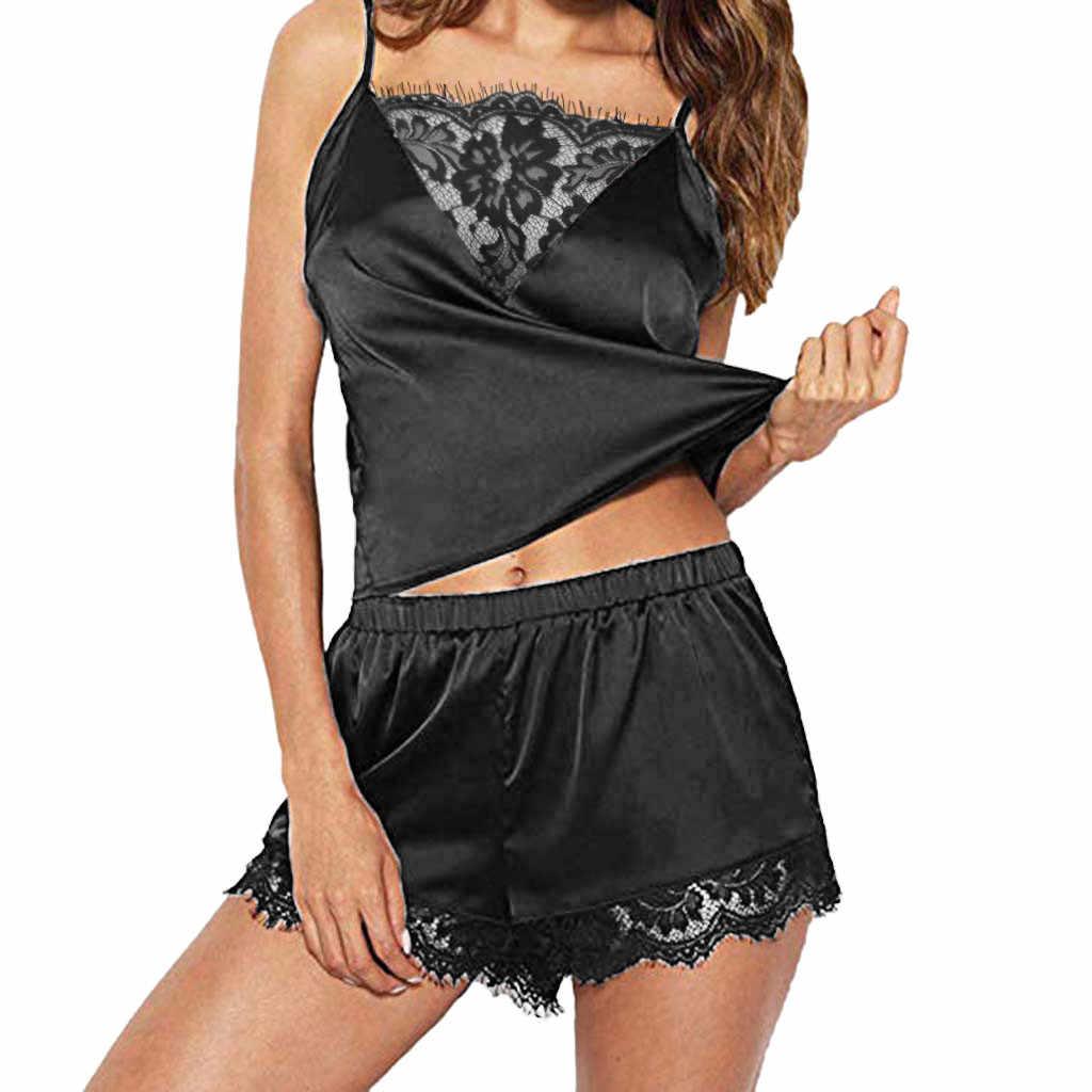 ผู้หญิงชุดนอนชุดนอนสายคล้องคอผู้หญิงชุดนอนลูกไม้ Trim SATIN Cami ชุดนอนชุดเซ็กซี่ชุดชั้นใน Dropship 2020 ใหม่