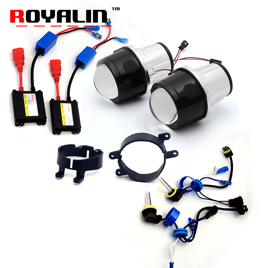 ROYALIN Fog Light Projector Lens Kit for Toyota Corolla Prado Camry Yaris Levin 2.5 Metal Bi-xenon Lens Hi/lo Car Styling 4300K eglo pyton 85332