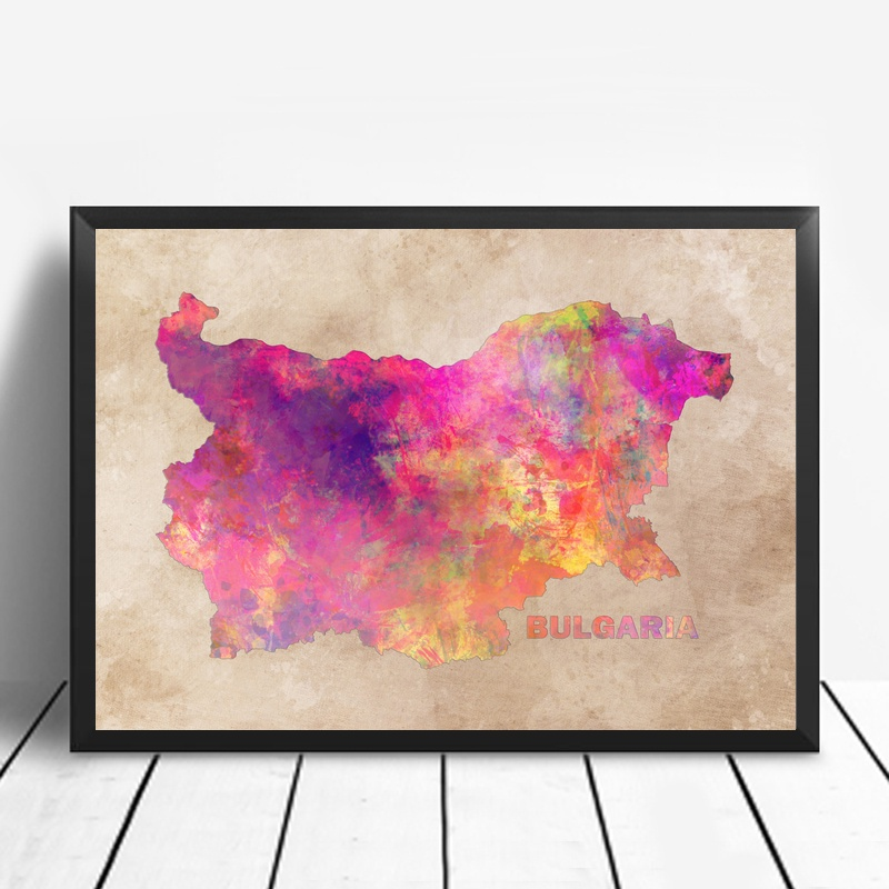 Bulgaria Map Art Living Room Wall Art Picture Home Decor Canvas Painting 50x75cm