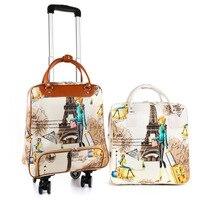 Frauen reisetaschen set Roll Gepäck Tasche mit rädern tragen auf Koffer set 20 zoll trolley taschen wasserdichte tragbare Handtasche-in Reisetaschen aus Gepäck & Taschen bei