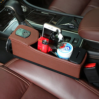 Car Seat Crevice Storage Box Cup Drink Holder Organizer Auto Gap Pocket Two USB charging interfaces