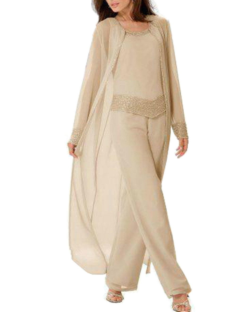 Women 3 Pieces Elegant Beading Chiffon Mother Of The Bride Dress Pants Suit With Long Jacket Outfit Long Sleeves For Wedding