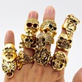 Exquisite Men Ring Wholesale  Mix style Mix size (8,9,10,11) Environmental 18 K Gold Plate Skull Rings for Party