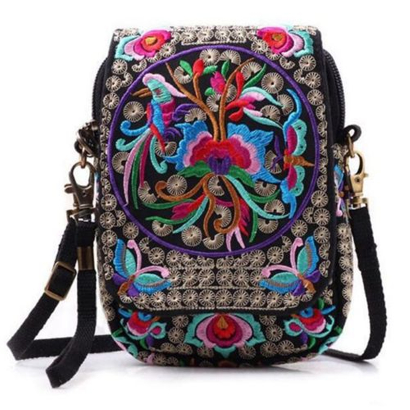 Bolsa Feminina School Backpack Women's High Quality Canvas Beautiful Floral Embroidered Pattern Ethnic Crossbody Shoulder Bag
