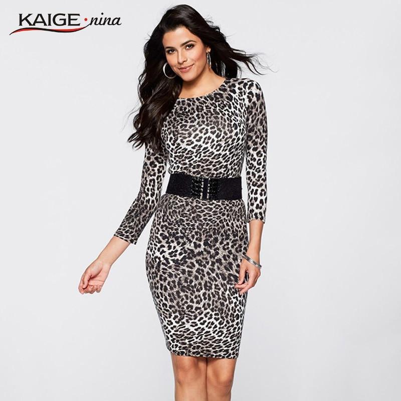 KaigeNina New Fashion Hot Sale Women O Three Quarter Leopard Party Cocktail Work Club Clubwear Bodycon