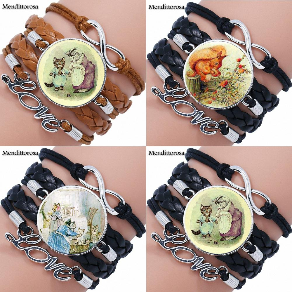 For Women Kids The Tale of Tom Kitten Cute Cat Glass Cabochon Maxi Multilayer Black/Brown Leather Bracelet Bangle Jewelry