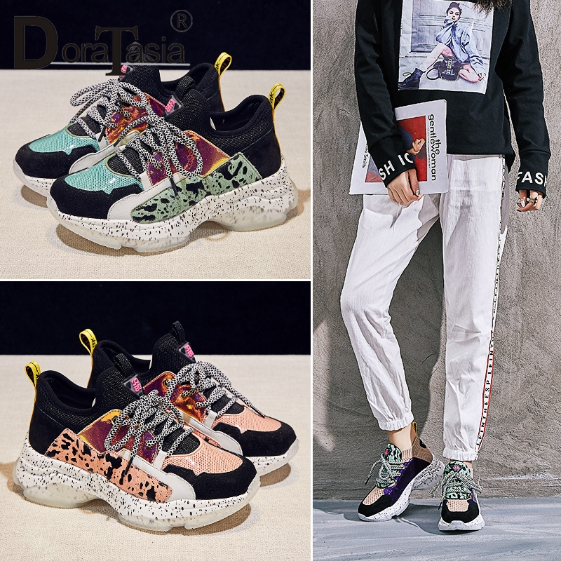 DORATASIA 2019 New Spring Summer INS Hot Women Horsehair Sneakers Cow   Leather     Suede   Large Size 35-42 Casual Women Shoes Woman