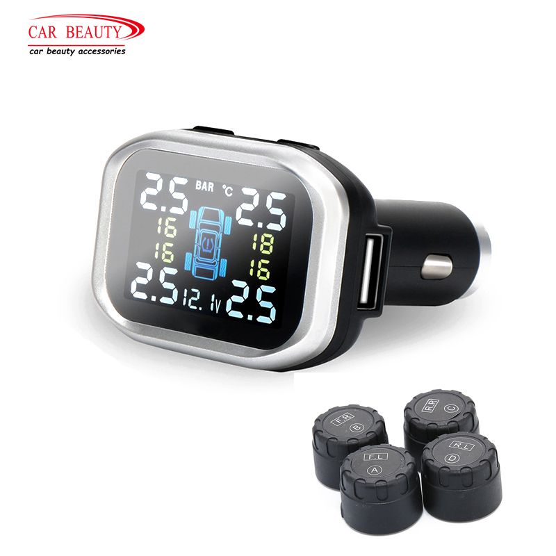 Cigarette Lighter Type TPMS Car Tire Pressure Alarm Monitor System External Sensor Tyre Alarm Auto Security Accessories tpms car tire pressure monitoring system alarm cigarette lighter digital lcd display auto security electronics external sensor