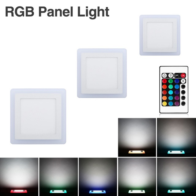 18w Led Panel Light Flat Ultra Thin Led Panel Downlight: Ultra Slim 6W 9W 18W 24W Square Concealed Dual Color LED
