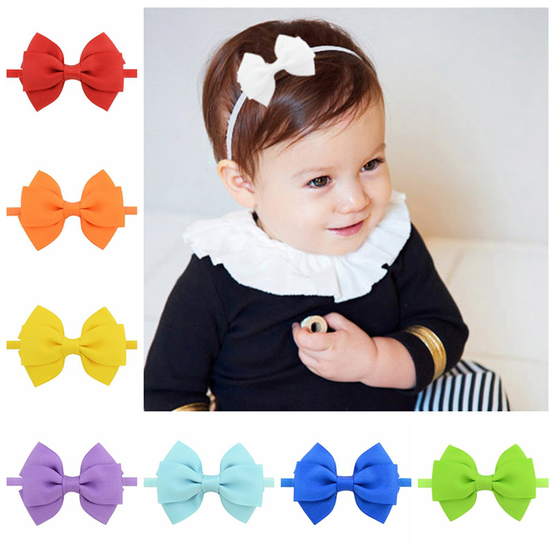 Kids Lovely Grosgrain Ribbon Bowknot Headband Bow Tie Small Mini Thin Elastic Head Band Girls Hairbands Baby Hair Accessories
